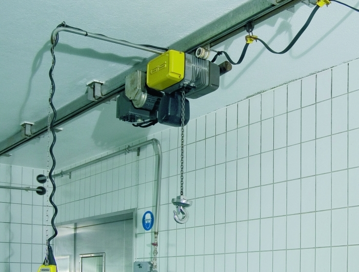 Food-grade stainless steel GIS chain hoist in enclosed track
