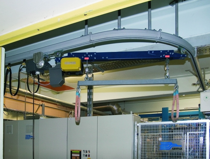 True synchronised GIS chain hoist running inside curved monorail system