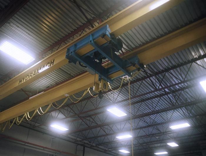 double girder crane with under running hoist trolley and hoist frame sunk between girders for ultra low headroom