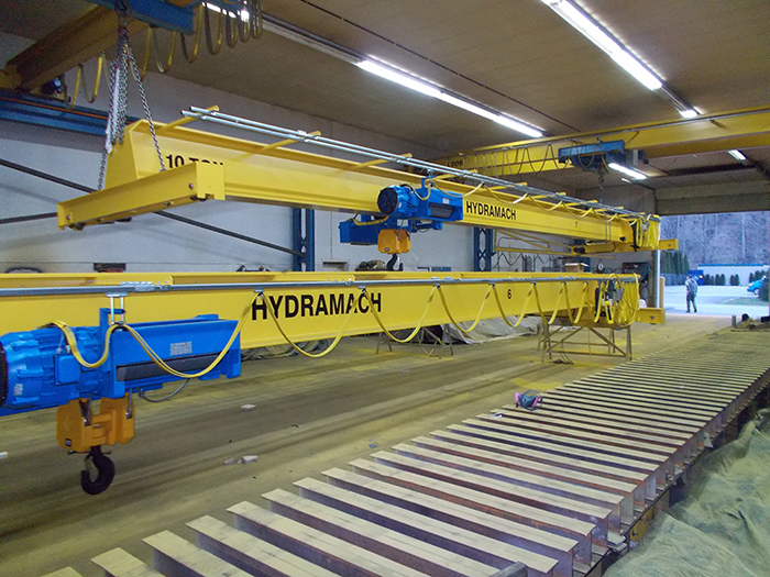 Two 16 ton top running 60 foot span cranes in fabrication
