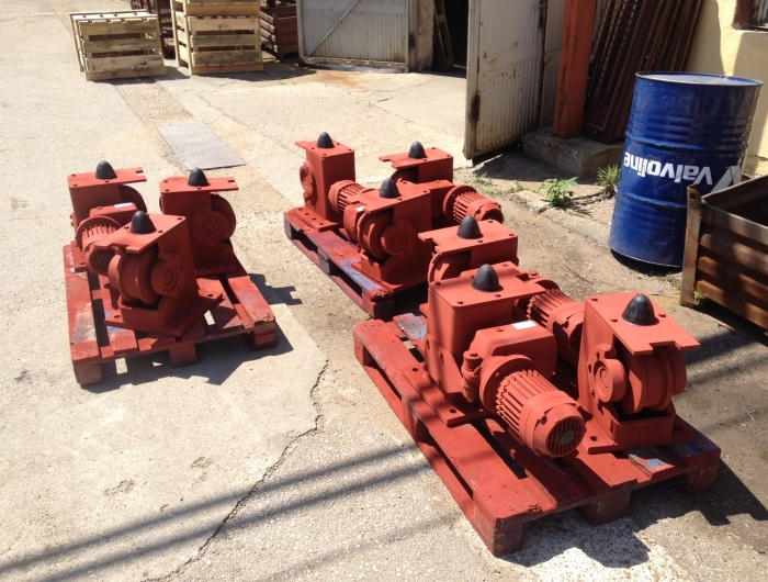 many sets of wheel blocks outside waiting for shipping