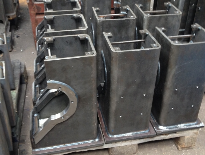 wheel block frames at factory during manufacturing process